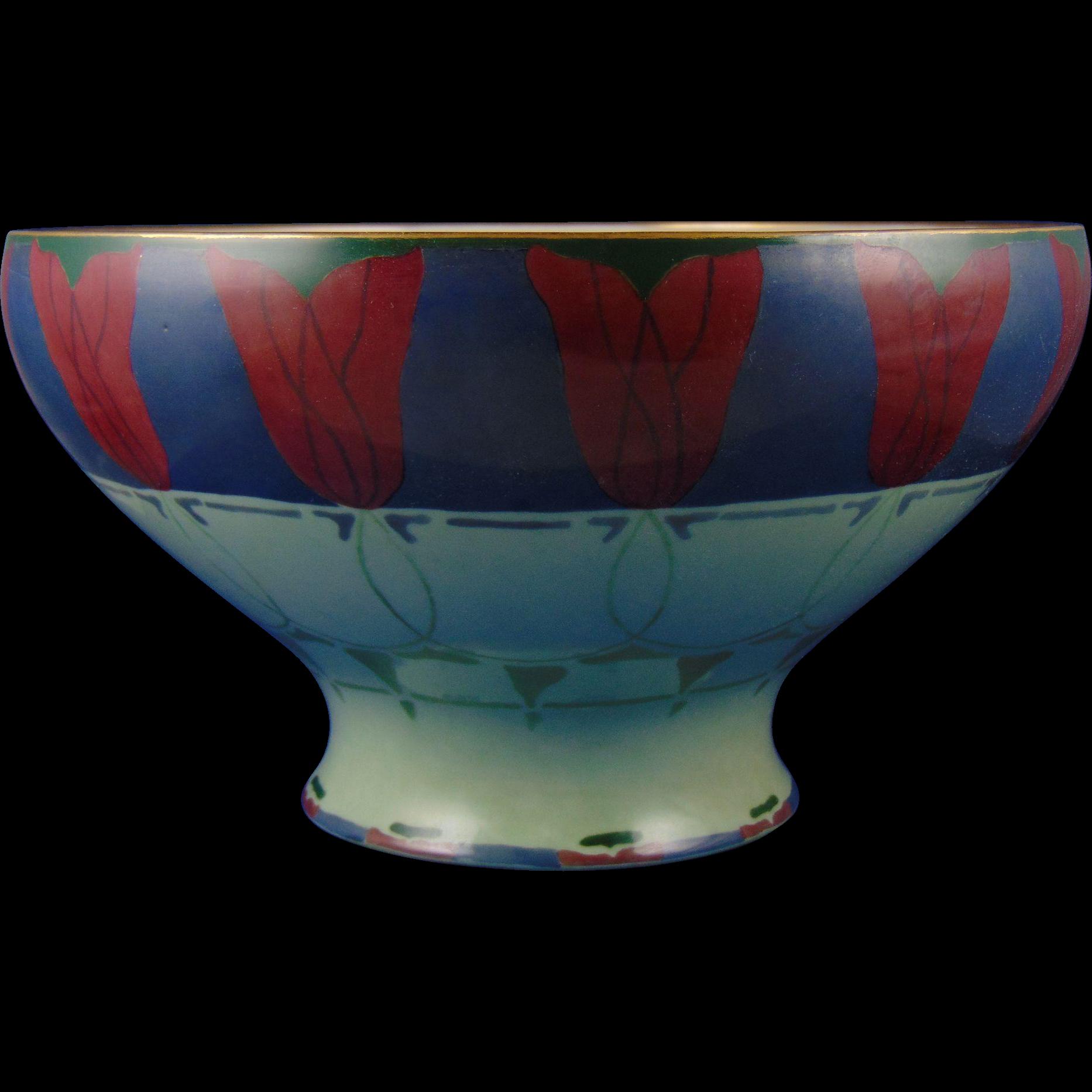 Lenox Belleek Art Deco Tulip Motif Centerpiece Bowl (Signed/c.1906-1924)