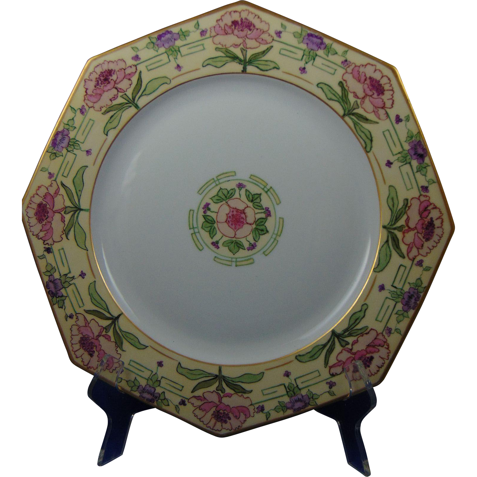 "Czecho-Slovakia Arts & Crafts Floral Motif Charger/Plate (Signed ""A. Rayton""/Dated 1926) - Keramic Studio Design"