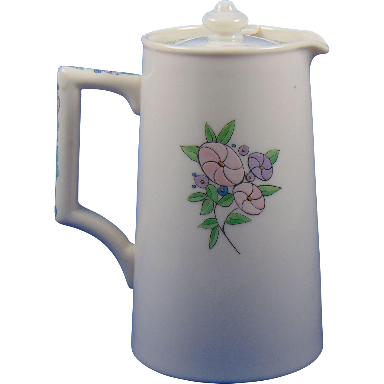 Lenox Belleek Art Deco Enameled Floral Motif Syrup Pitcher (c.1906-1924)