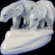 Zsolnay Hungary Polar Bears Figurine (c.1920-1940)