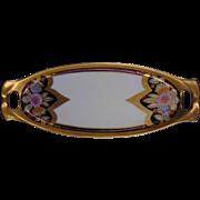 "RS Germany Arts & Crafts Gold & Lustre Floral Motif Tray (Signed ""Ashworth""/ 1904-1938)"