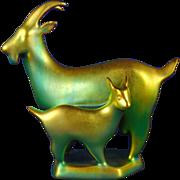 Zsolnay Hungary Goat & Kid Eosin Green Figurine (c.1930-1950)