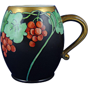 """Klingenberg & Dwenger (AKD) Limoges Arts & Crafts Grape Motif Tankard/Mug (Signed """"L.E.R.""""/Dated 1912)"""