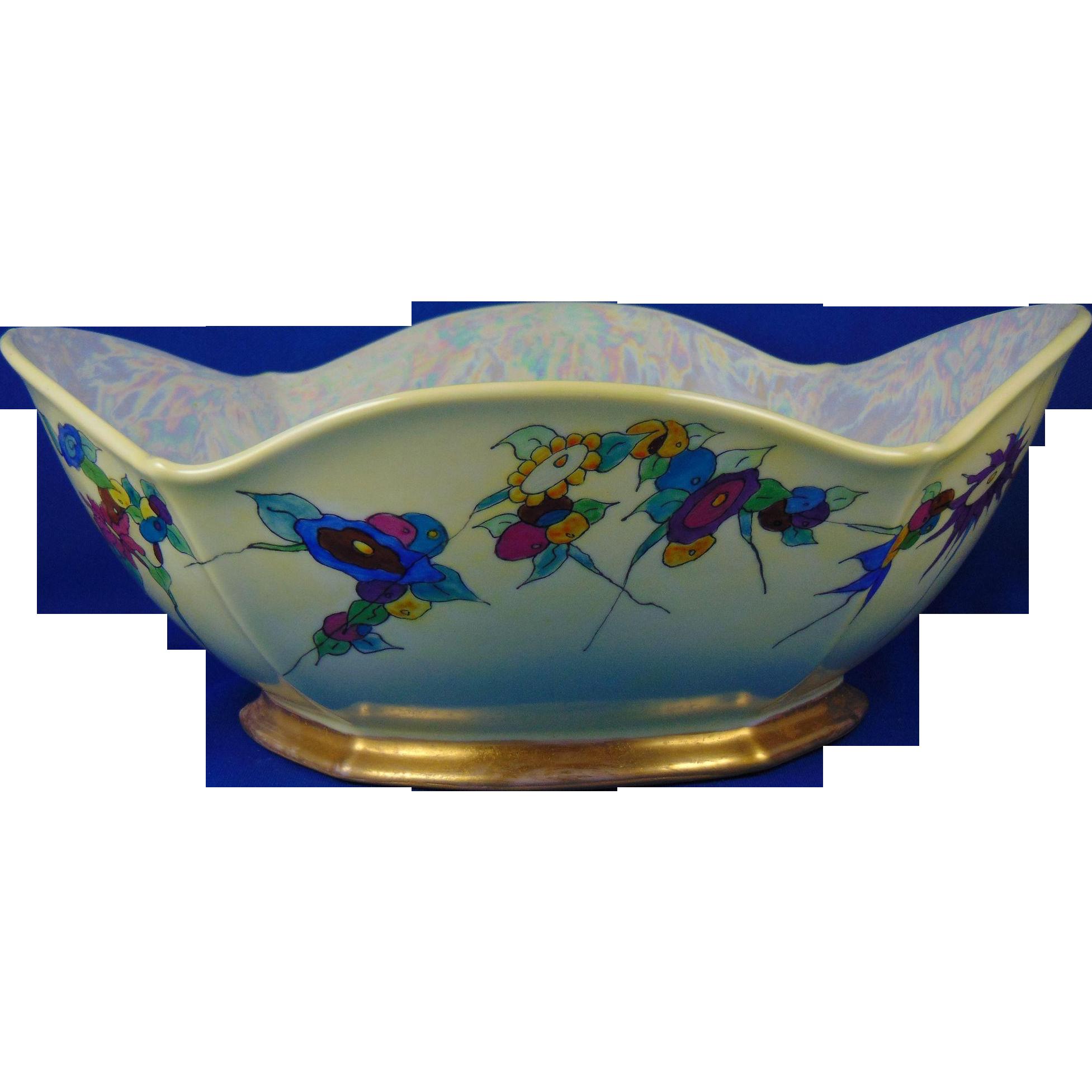 "Porcelain Blank Art Deco Floral Design Centerpiece Bowl (Signed ""Alpha Walker Witt""/Dated 1939)"