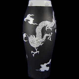 "Porcelain Blank Black & White ""Chinese Dragon"" Design Vase (Signed ""Viola Hyman""/Dated 1915)"