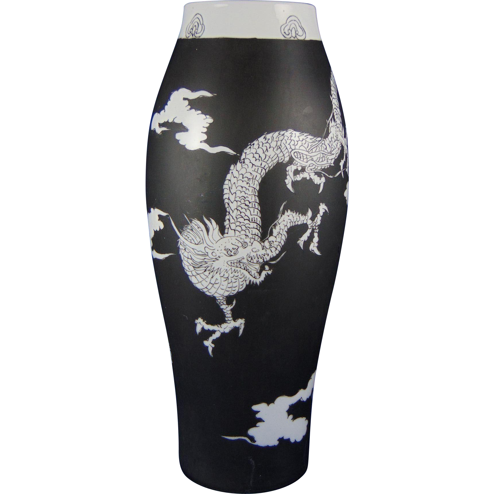 "Porcelain Blank Black & White ""Chinese Dragon"" Design Vase (Signed ""Viola Hyman""/Dated 1915)"