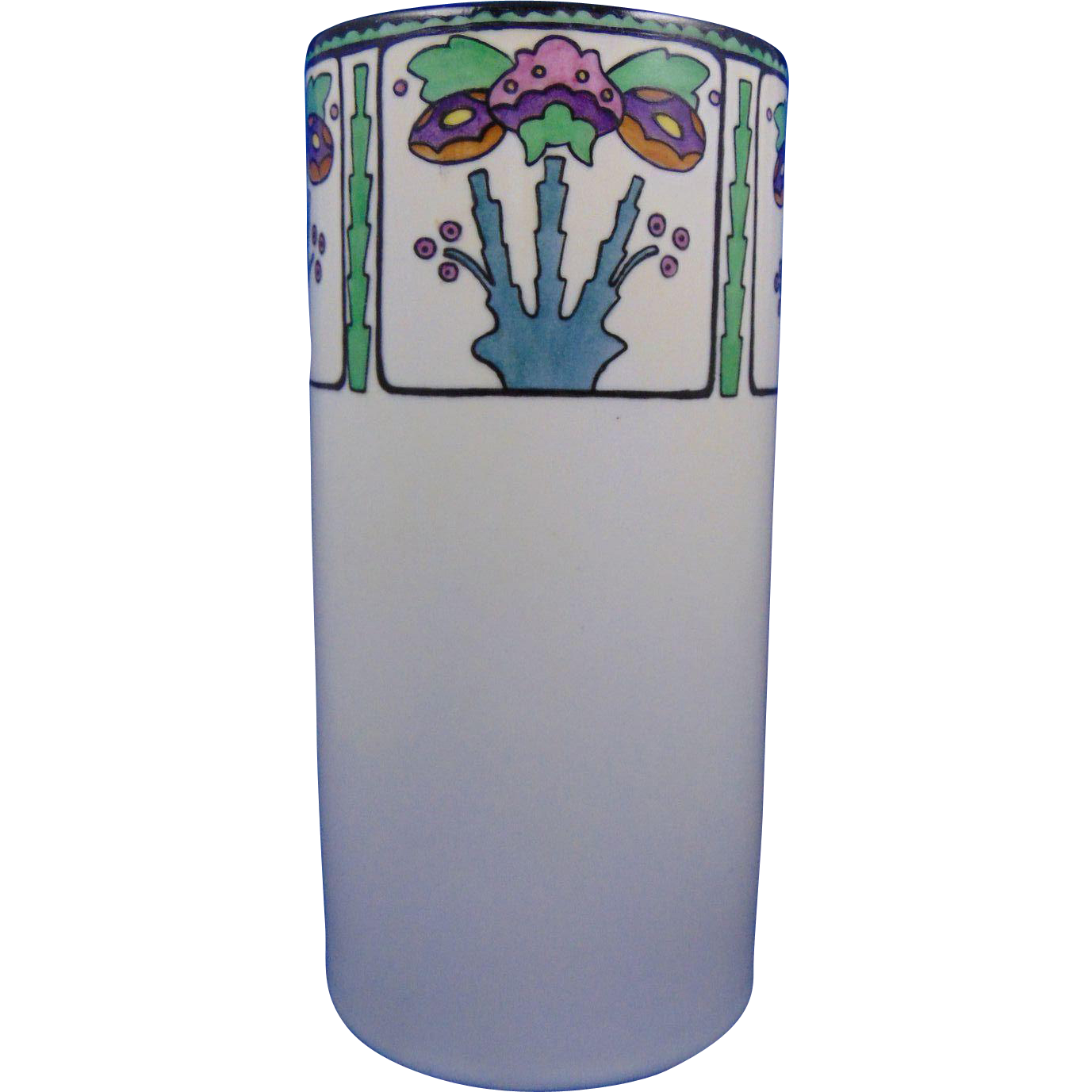 "Noritake Nippon American Arts & Crafts Floral Design Vase (Signed ""M. McCormick""/c.1922-1930)"