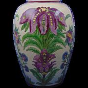 "Large American Satsuma Arts & Crafts Floral Motif Vase (Signed ""Jordan""/Dated 1929)"