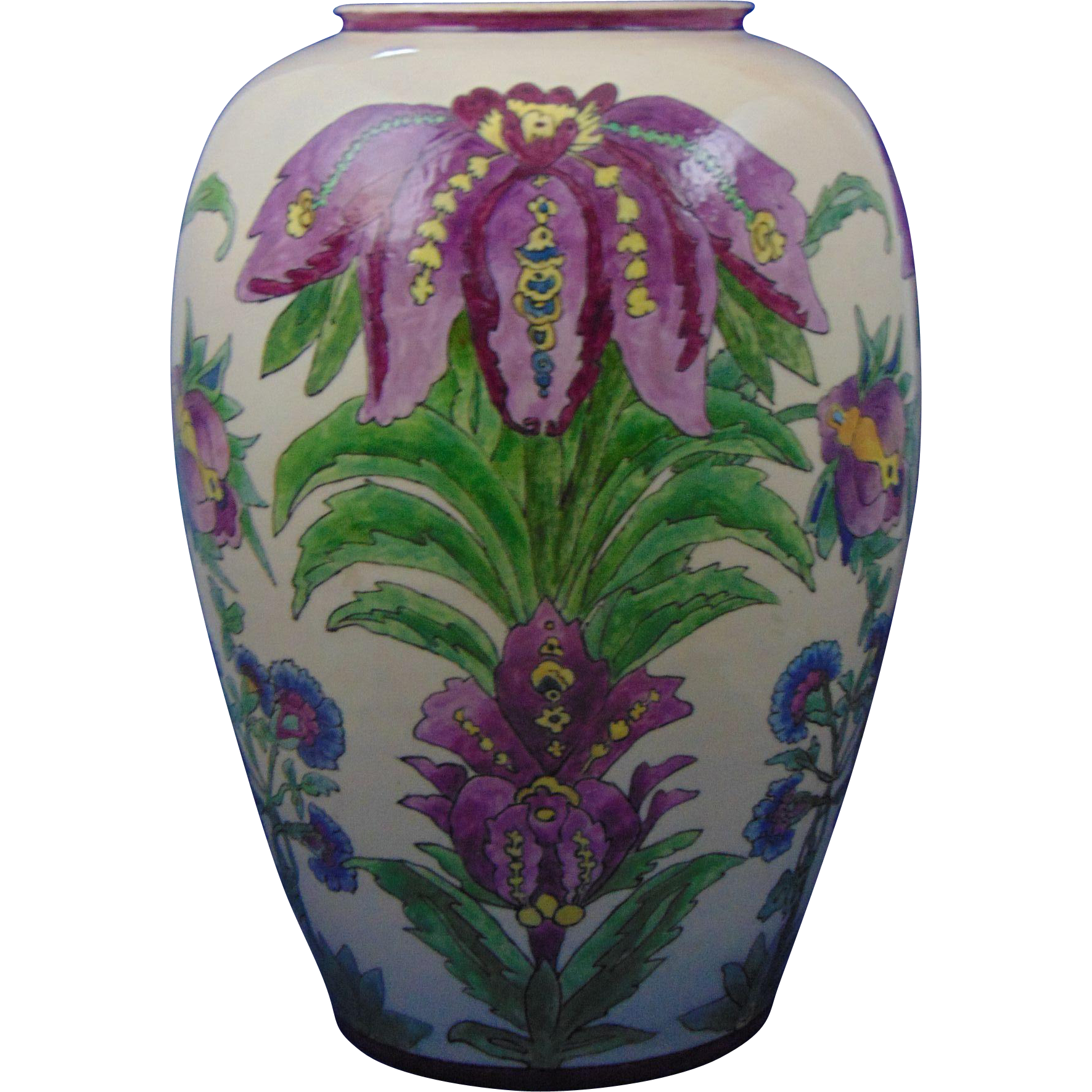 "Large American Satsuma Arts & Crafts Floral Motif Vase (Signed ""Jordan""/Dated 1929)"