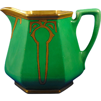"Porcelain Blank Arts & Crafts Green & Gold Pitcher (Signed ""Edith D. Moffitt""/Dated 1923)"