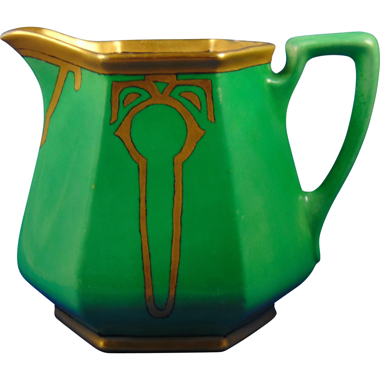 "Porcelain Blank Arts & Crafts Green & Gold Pitcher (Signed ""Edith D. Moffitt""/Dated 1923)"