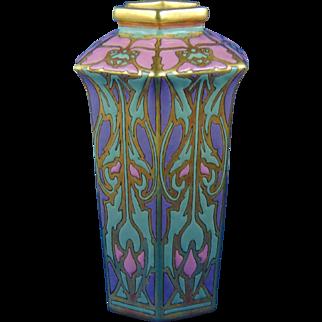 American Satsuma Arts & Crafts Enameled Poppy Motif Vase (c.1910-1930)