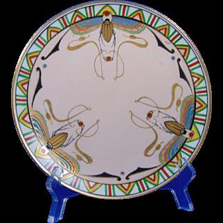 Julius Brauer Studios Art Deco Egyptian Revival Scarab Design Plate (c.1910-1916)