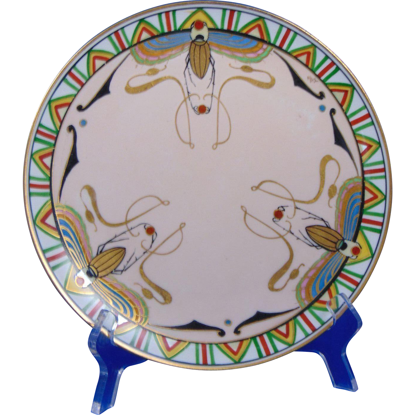 Julius Brauer Studios Art Deco Egyptian Revival Scarab Design Plate (c.1910-1916)