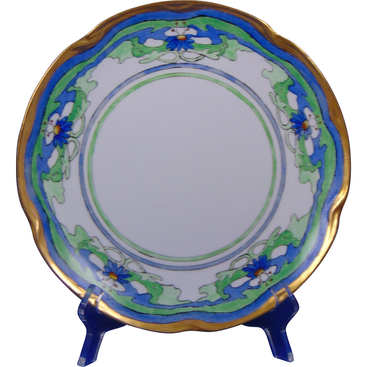 Jaeger & Co. Bavaria Arts & Crafts Floral Motif Plate (Signed/c.1909-1930) - Keramic Studio Design