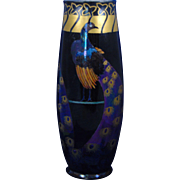PH Leonard Austria Arts & Crafts Peacock Motif Vase (c.1900-1930)