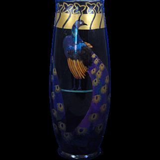 PH Leonard Austria Arts & Crafts Peacock Motif Vase (c.1900-1930)
