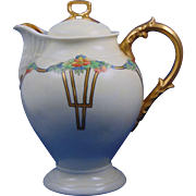 "Delinieres & Co. (D&Co.) Limoges Arts & Crafts Floral Motif Coffee Pot/Teapot (Signed ""I. Troy""/c.1900-1920)"