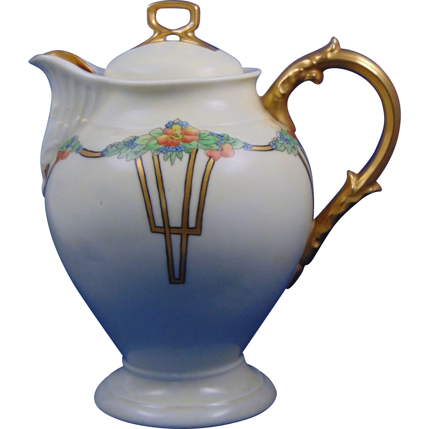 "Delinieres & Co. (D&Co.) Limoges Arts & Crafts Floral Motif Coffee Pot/Teapot (Signed ""I. Troy""/c.1900-1920)"