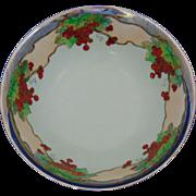 """Porcelain Blank Arts & Crafts Currant Motif/Platinum Rimmed Bowl (Signed """"V.L.S.""""/c.1910-1930)"""