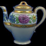 "Gerard, Dufraisseix & Abbott (GDA) Limoges Arts & Crafts Floral Motif Coffee Pot/Teapot (Signed ""The Studio""/c.1900-1941)"