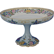 "Bernardaud & Co. (B&Co.) Limoges Arts & Crafts Enameled Floral Motif Pedestal Plate/Compote (Signed ""A. Mutrie""/Dated 1916)"