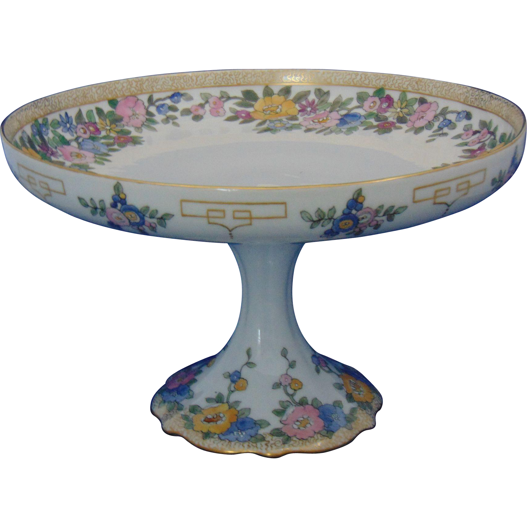 "Bernardaud & Co. (B&Co.) Limoges Arts & Crafts Enameled Floral Motif Pedestal Plate/Compote (Signed ""A. Mutrie""/Dated 1916)"
