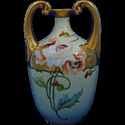 Bavaria Arts & Crafts Poppy Motif Handled Vase (c.1910-1930)