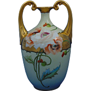 Bavaria Arts & Crafts Poppy Motif Handled Vase (c.1910-1930)