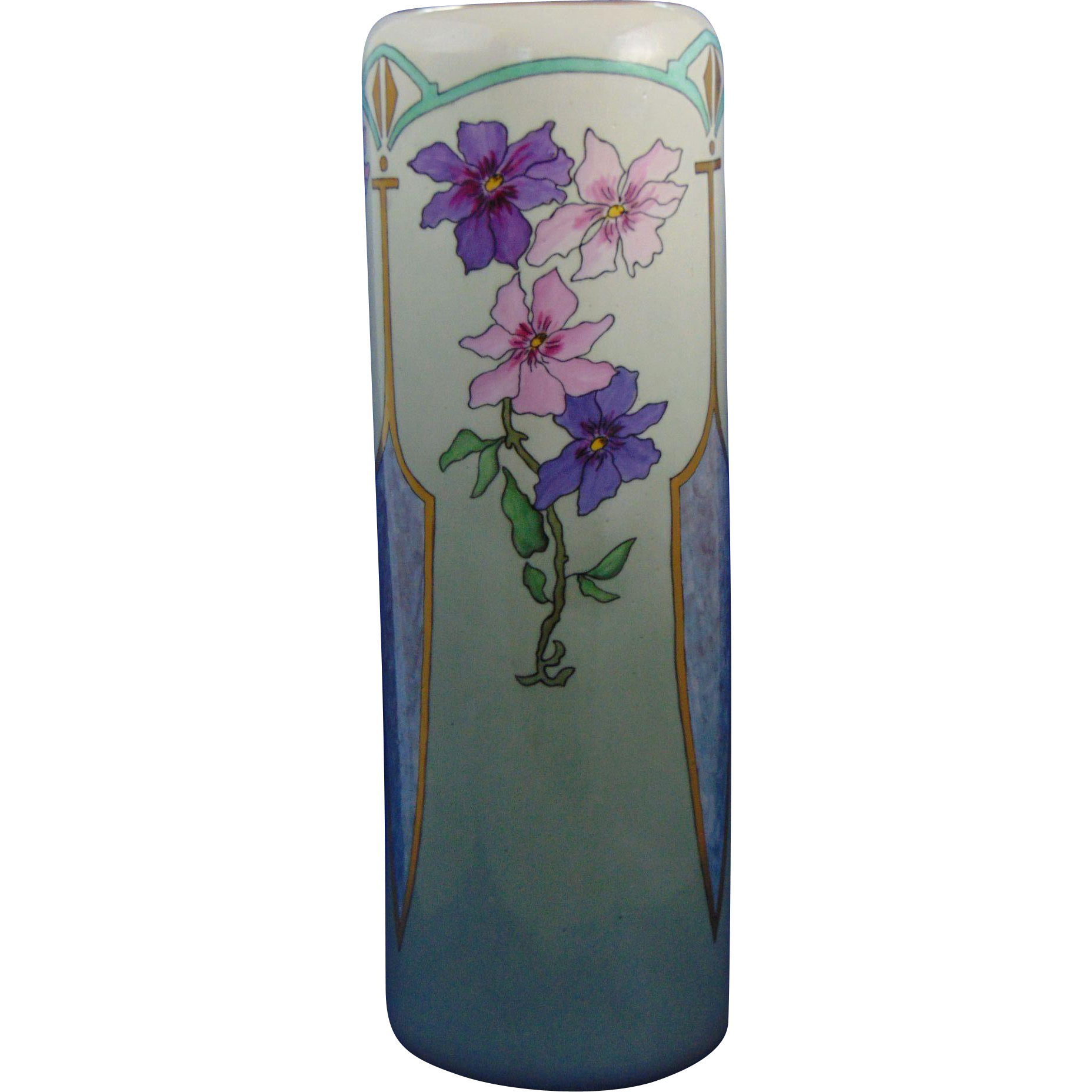 TK Czechoslovakia Arts & Crafts Purple & Pink Floral Motif Vase (c.1918-1936)