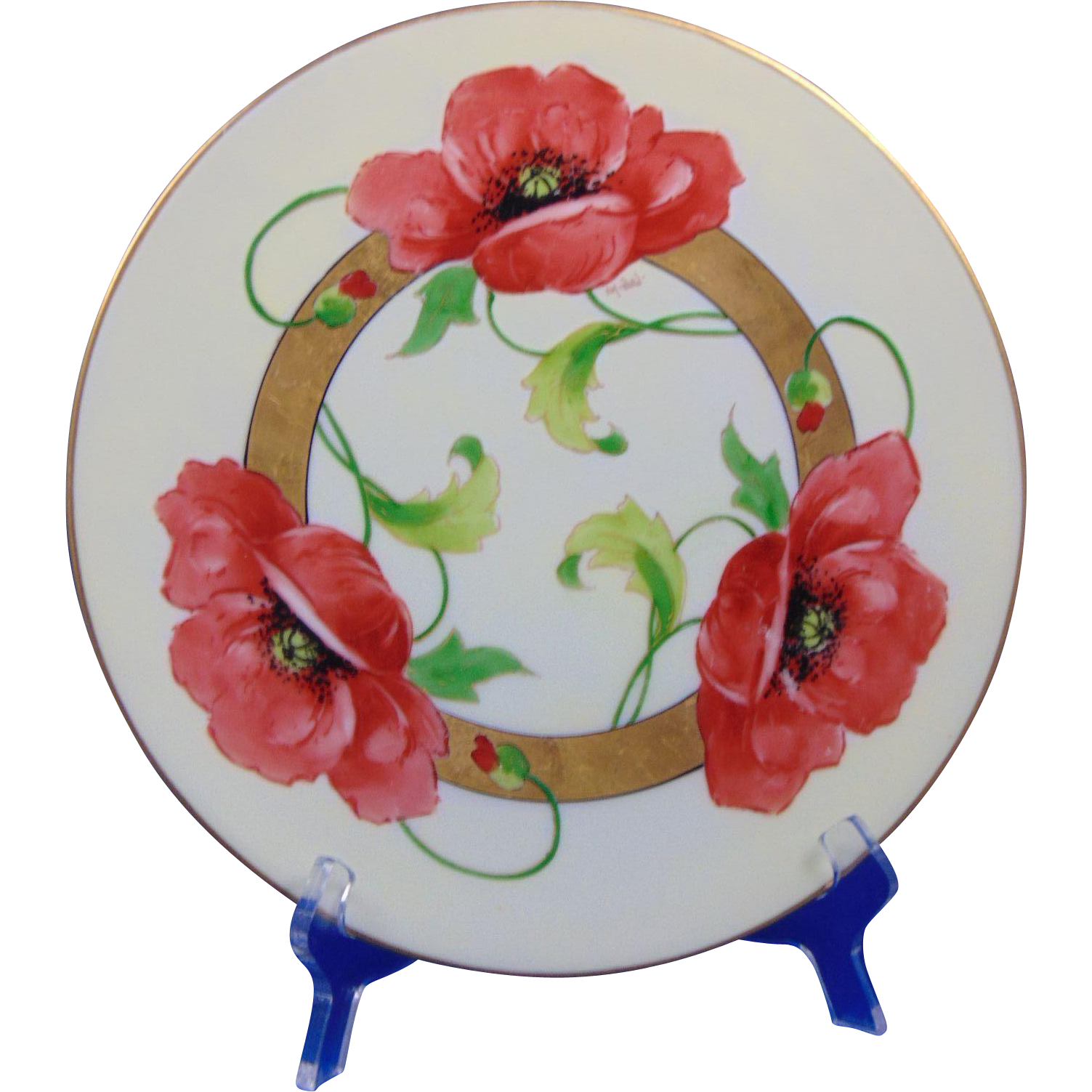 "Thomas Bavaria Arts & Crafts Poppy Motif Plate (Signed ""Michel""/c.1908-1930)"