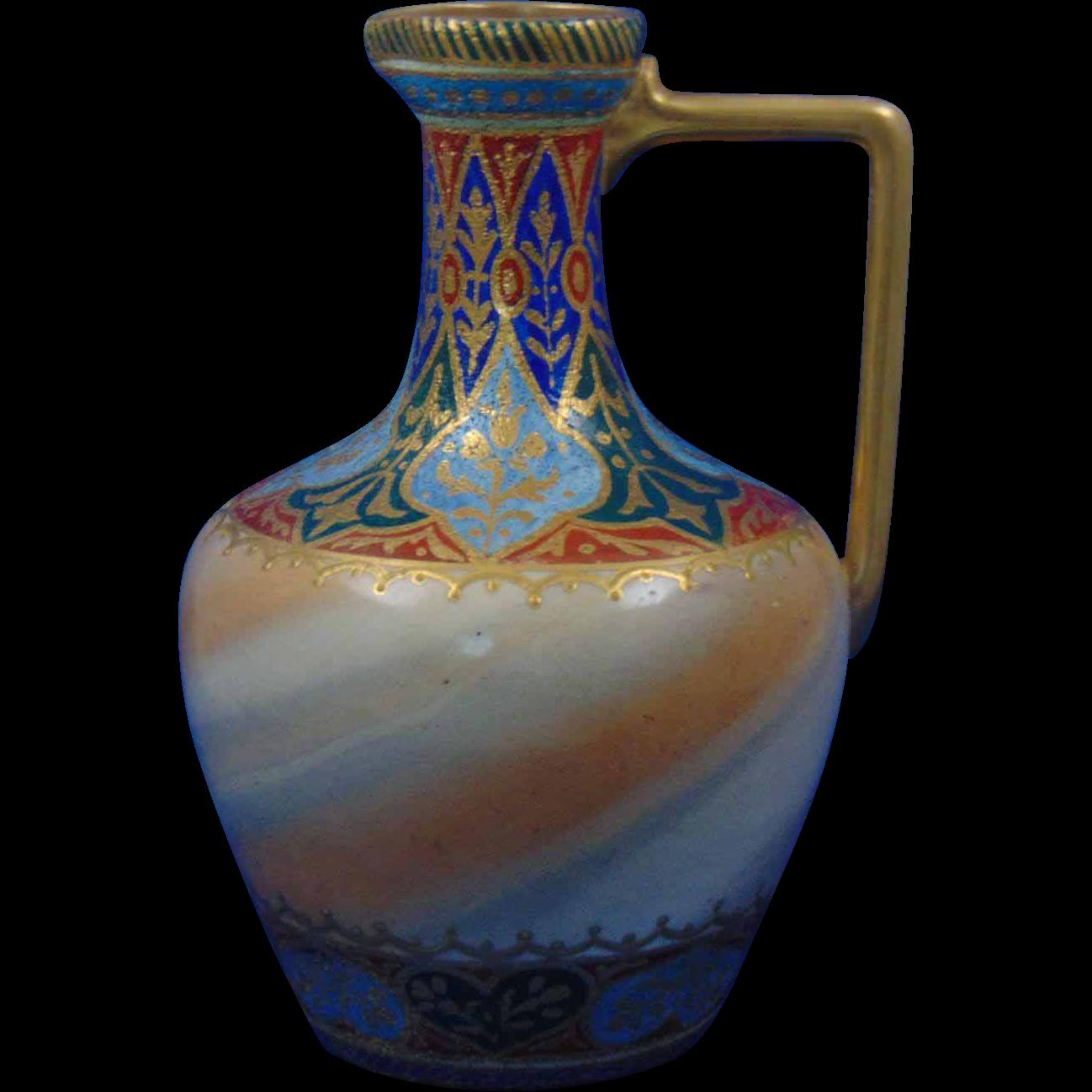 "Royal Bonn Germany Islamic ""Cashmir Misrmor"" Design Tapestry Pitcher/Ewer (c.1893-1923)"