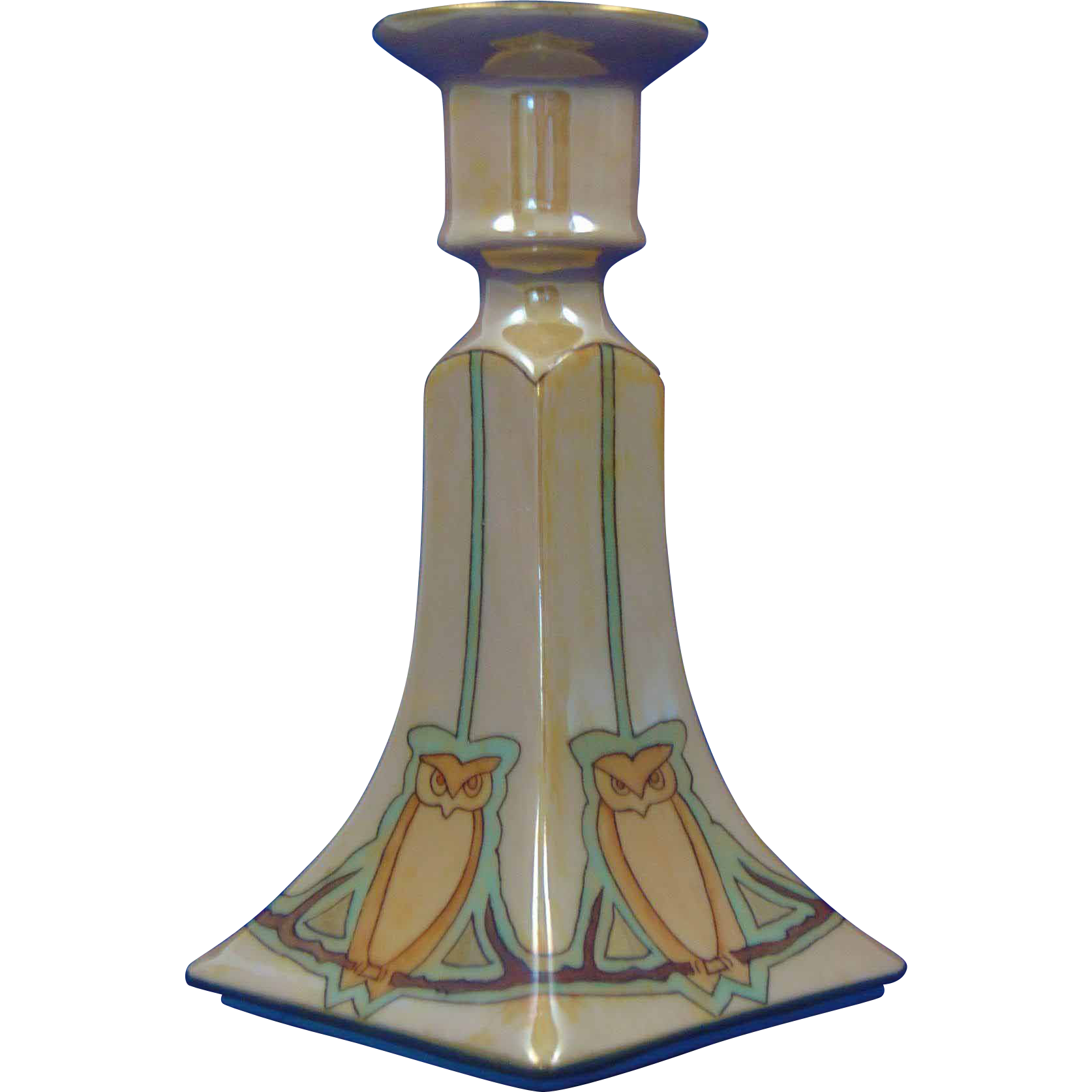 "Bernardaud & Co. (B&Co.) Limoges Arts & Crafts Lustre Owl Motif Candlestick (Signed ""Alta Dickens""/c.1911-1914) - Keramic Studio Design"
