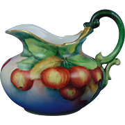 "Tressemann & Vogt (T&V) Limoges Naturalistic Apple Motif Pitcher (Signed ""A.D.S.""/c.1892-1907)"