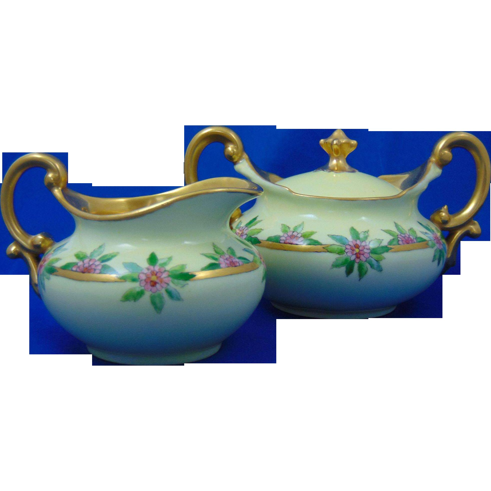 Tressemann & Vogt (T&V) Limoges Arts & Crafts Pink Floral Motif Creamer & Sugar Set (c.1892-1907)