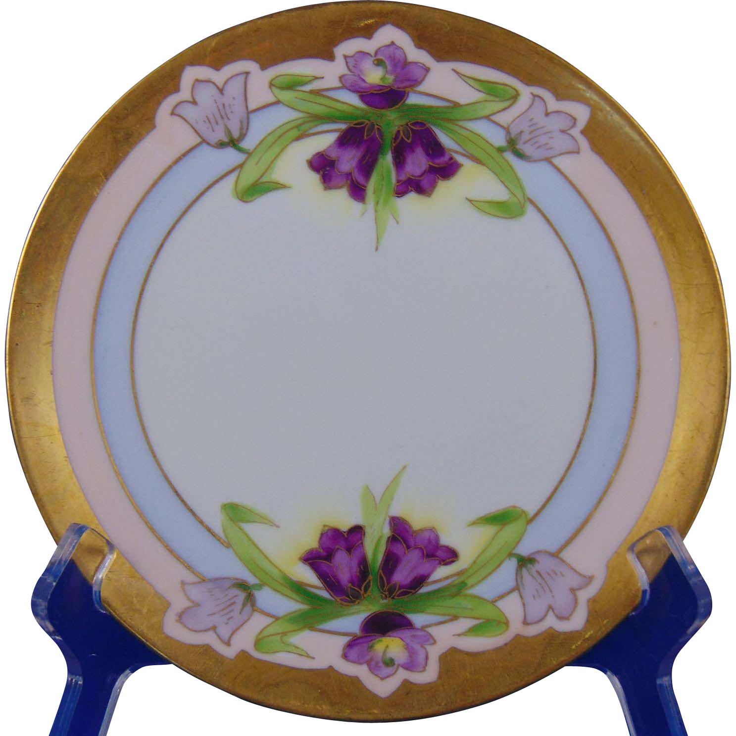 Jaeger & Co. (J&C) Bavaria Stouffer Studio Purple Floral Plate (c.1906-1914)