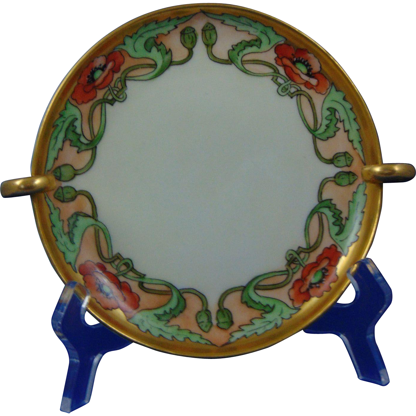 "Uno Favorite Bavaria Arts & Crafts Poppy Motif Handled Serving Plate (Signed ""M. Perl""/c.1910-1930)"