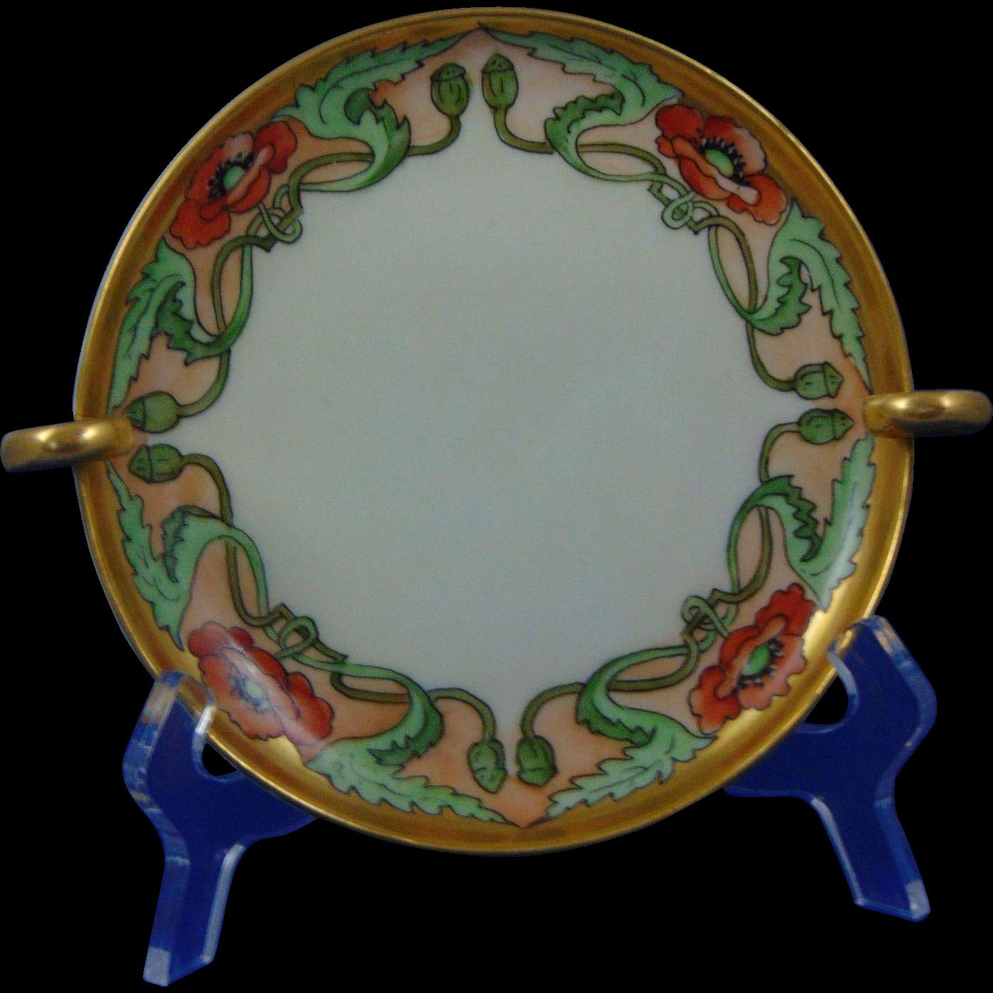 "Uno Favorite Bavaria Arts & Crafts Poppy Motif Handled Serving Plate/Dish (Signed ""M. Perl""/c.1910-1930)"