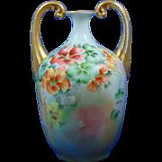 Porcelain Blank Nasturtium Motif Handled Vase (Signed/c.1900-1930)
