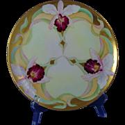 Haviland Limoges D'Arcy's Art Studio Kalamazoo, MI Orchid Design Plate (c.1900-1920)