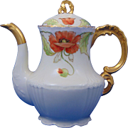 "Jean Pouyat (JP) Limoges Poppy Motif Teapot (Signed ""Steve""/c.1890-1932)"