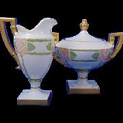 "Lenox Belleek Arts & Crafts Rose Motif Creamer & Sugar Set (Signed ""M. Thomas""/c.1906-1924)"