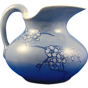 """Delinieres & Co. (D&Co.) Limoges Arts & Crafts Blue Floral Motif Pitcher (Signed """"G.A.R.""""/Dated 1914)"""