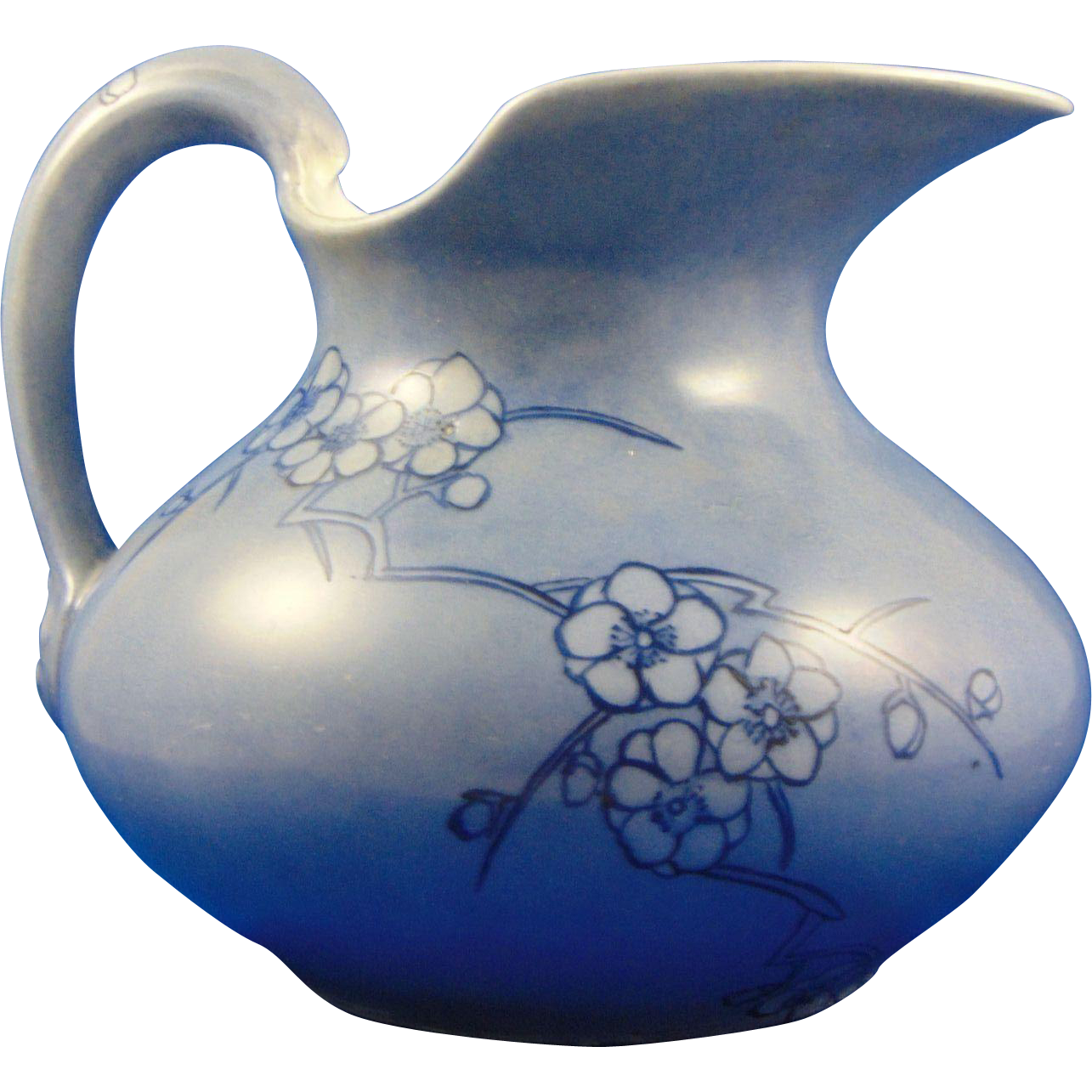 "Delinieres & Co. (D&Co.) Limoges Arts & Crafts Blue Floral Motif Pitcher (Signed ""G.A.R.""/Dated 1914)"
