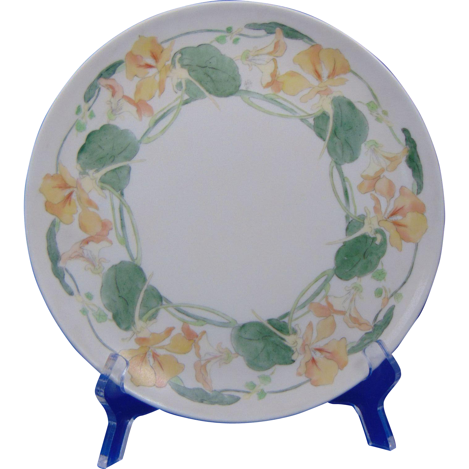 Haviland Limoges Arts & Crafts Nasturtium Motif Plate (Signed/c.1894-1931)