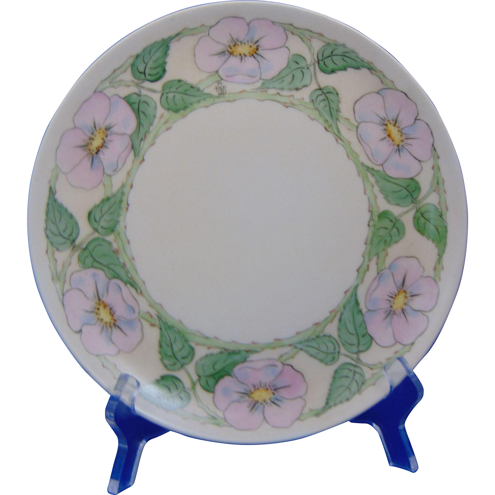 Haviland Limoges Arts & Crafts Wild Rose Motif Plate (Signed/c.1894-1931)