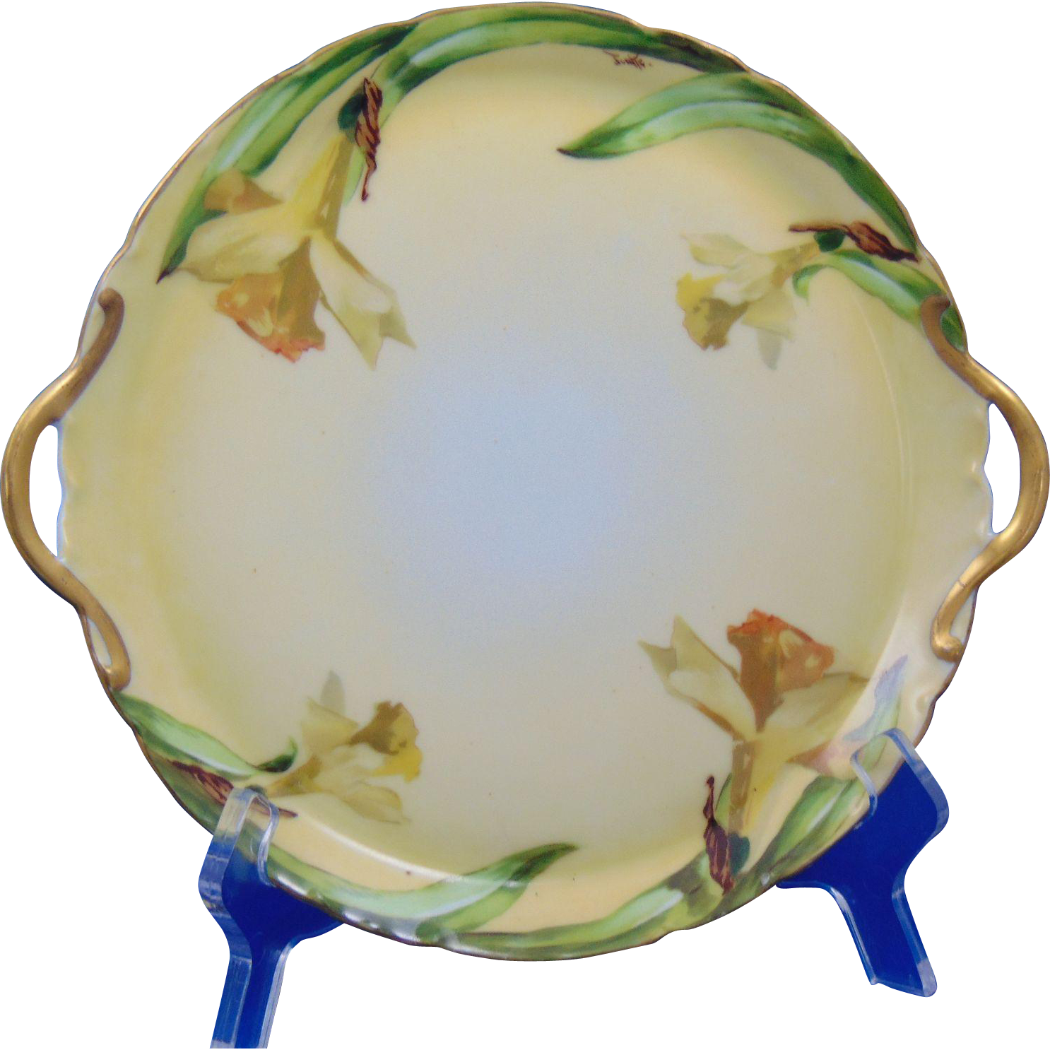 Gaines Studio Akron, OH Tirschenreuth Bavaria Daffodils Motif Handled Plate (Signed /c.1927-1940)