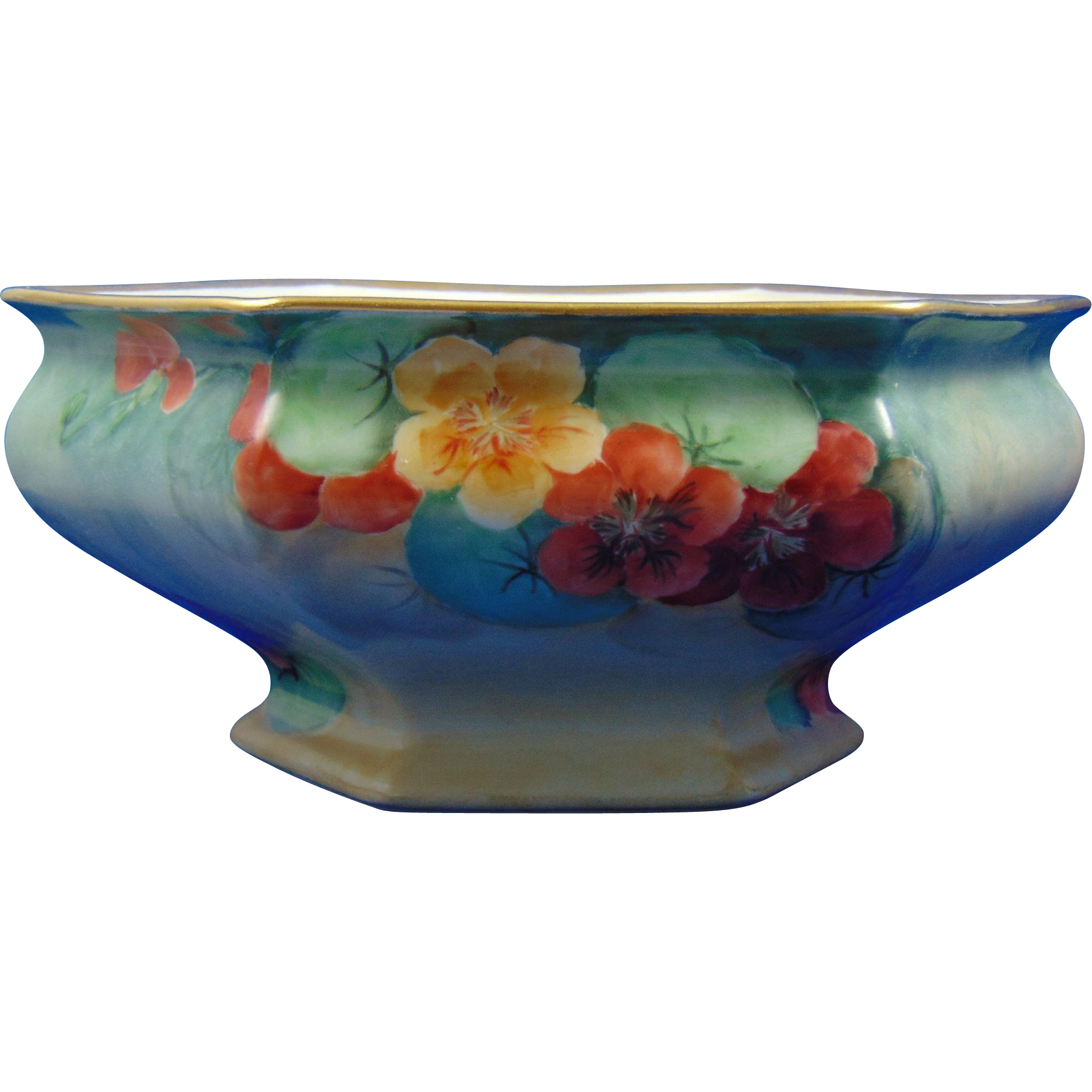 "Bernardaud & Co. (B&Co.) Limoges Nasturtium Motif Centerpiece Bowl (Signed ""F.E.W.""/c.1914-1930)"