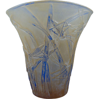 Consolidated Glass Yellow Wash Martele Katydid Vase (c. 1920's)