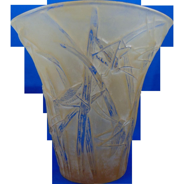 Consolidated Glass Yellow Wash Martele Katydid Vase (c. 1920's)